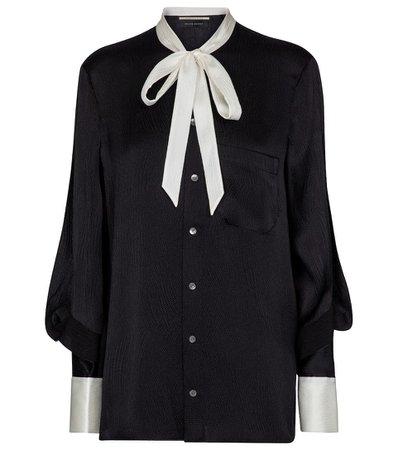Roland Mouret - Isleham hammered-satin blouse   Mytheresa
