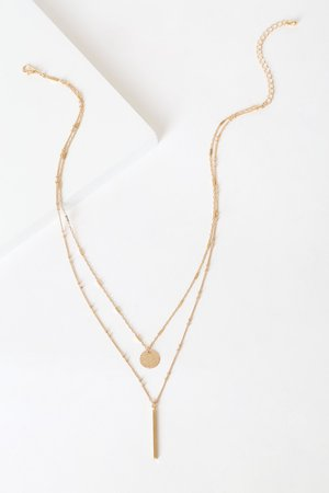 Gold Bar Necklace - Layered Necklace - Gold Chain Necklace - Lulus