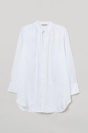 H&M+ Long Satin Blouse - White