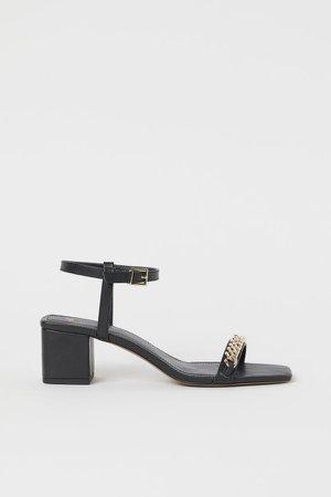 Chain-detail Sandals - Black