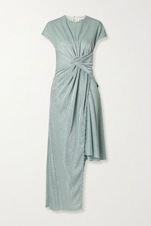Mint Asymmetric bead-embellished gathered metallic knitted dress | Lanvin | NET-A-PORTER