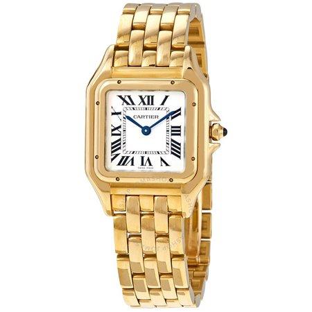 Cartier Panthere de Cartier Medium Silver Dial 18kt Yellow Gold Ladies Watch WGPN0009 WGPN0009 - Watches, Cartier - Jomashop