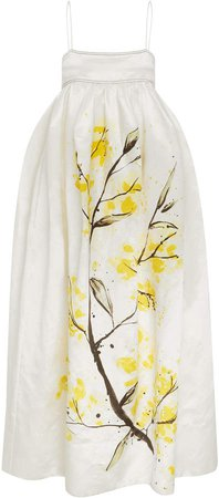 Aje Mimosa Printed Linen And Silk-Blend Satin Gown