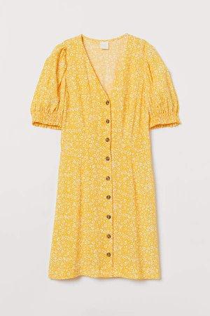 Puff-sleeved Dress - Yellow