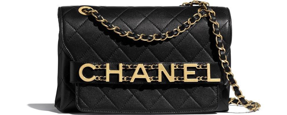 Flap Bag, calfskin & gold-tone metal, black - CHANEL