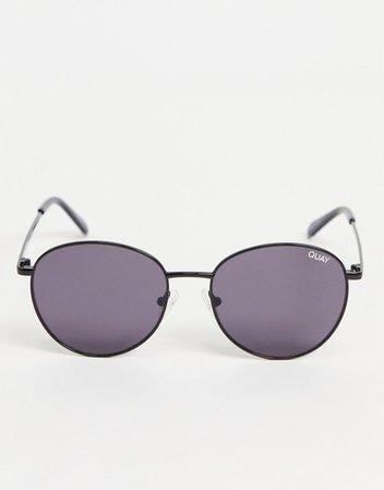 Quay Loop Me In unisex round sunglasses in black | ASOS
