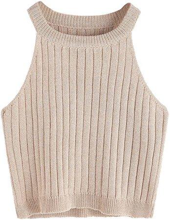 SweatyRocks Women's Knit Ribbed Sexy Crop Top High Neck Basic Sweater Shirt