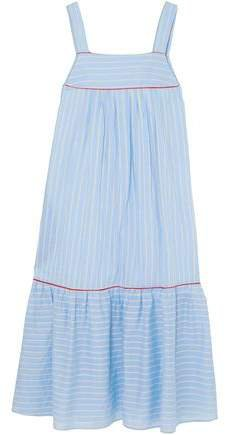 Bow-embellished Striped Cotton-blend Poplin Midi Dress