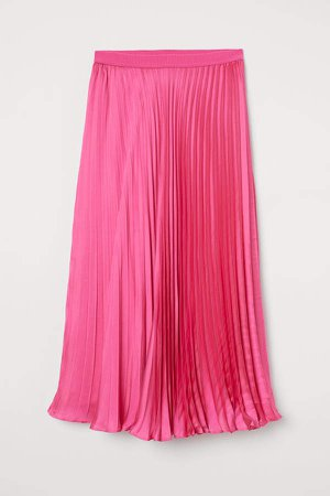 Pleated Satin Skirt - Pink