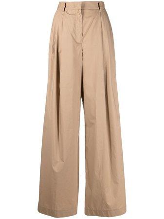Nude cotton palazzo trousers - FARFETCH