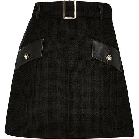 Black boucle pu mini skirt | River Island