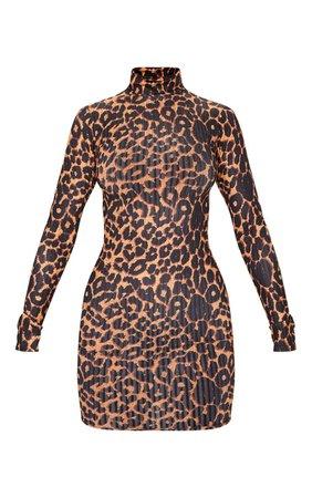 Brown Leopard Print Rib Long Sleeve Bodycon Dress | PrettyLittleThing USA