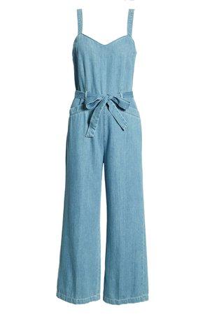 PAIGE Emma Tie Waist Cotton Jumpsuit | Nordstrom
