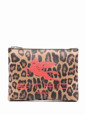 ETRO leopard-print Logo Clutch Bag - Farfetch