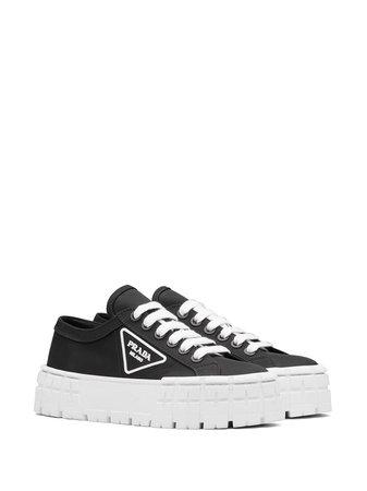 Prada Triangular Logo Plaque Sneakers - Farfetch