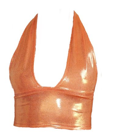 metallic orange halter top