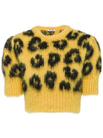 Miu Miu Leopard Intarsia Knit Cropped Sweater - Farfetch