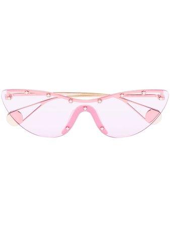 Gucci Eyewear Cat-Eye Stud Embellished Mask Sunglasses