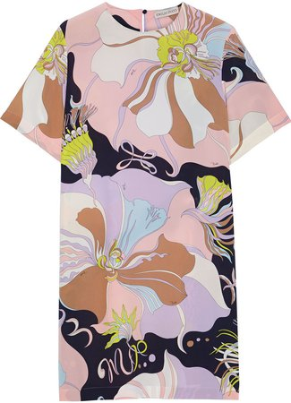 Printed Silk Crepe De Chine Mini Dress