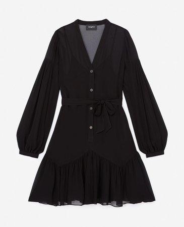 V-neck short black dress with belt | The Kooples