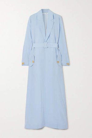 Belted Crepe Coat - Light blue