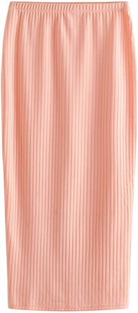 SheIn Women's Basic Plain Stretchy Ribbed Knit Split Full Length Skirt at Amazon Women's Clothing store