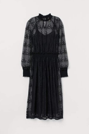Dress with Embroidery - Black