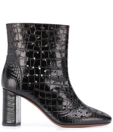 embossed crocodile boots