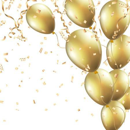 Festive Background With Gold Balloons And Confetti Royalty Free Cliparts, Vectors, And Stock Illustration. Image 67586041.