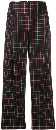 checked high-waist trousers