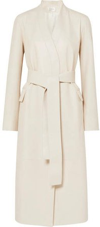 Jumo Belted Textured-leather Coat - Off-white