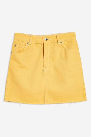 Yellow denim skirt with raw edge
