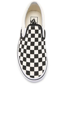 Vans Classic Slip On in Black and White Checker & White | REVOLVE