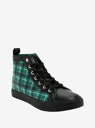 Harry Potter Slytherin Plaid Hi-Top Sneakers
