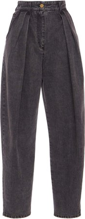 Alberta Ferretti Pleated High-Rise Jeans