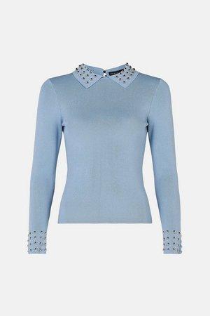 Studded Collar Knit Top   Karen Millen