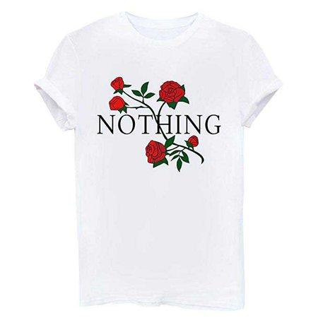 Amazon.com: BLACKMYTH Women Summer NOTHING Rose Print Short Sleeve Top Tee Graphic Cute T-shirt White X-Large: Clothing