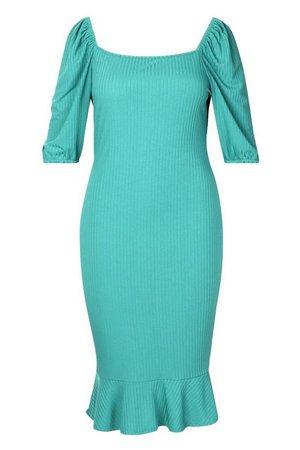 Plus Jumbo Rib Puff Sleeve Peplum Hem Midi Dress | boohoo