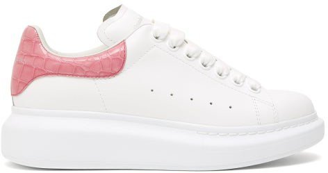 Raised-sole Low-top Leather Trainers - White