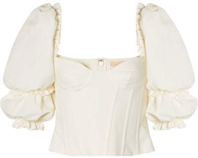 Cotton And Linen-blend Bustier Top - Cream