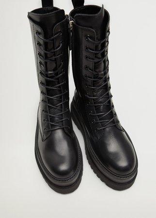 Lace-up leather boots - Women | Mango USA