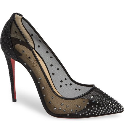 Christian Louboutin Follies Strass Embellished Mesh Pump (Women) (Nordstrom Exclusive) | Nordstrom