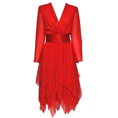 Estevez Red Chiffon Handkerchief Dress For Sale at 1stDibs