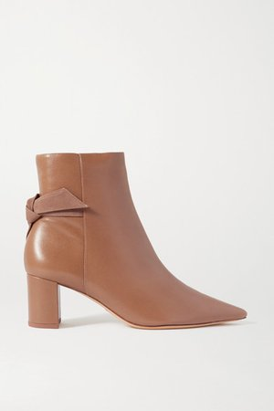 Clarita Bow-embellished Suede-trimmed Leather Ankle Boots - Neutral