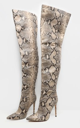 Snake Thigh High Boot | Shoes | PrettyLittleThing USA