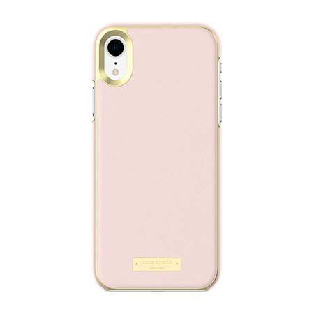 Amazon.com: Kate Spade New York Phone Case | for Apple iPhone XR | Protective Phone Cases with Wrap Design and Drop Protection - Saffiano Rose Quartz/Gold Logo Plate: Cell Phones & Accessories