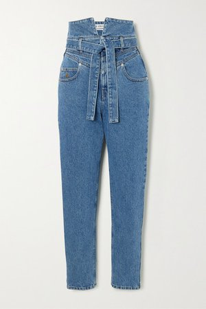 The Attico | Belted high-rise straight-leg jeans | NET-A-PORTER.COM