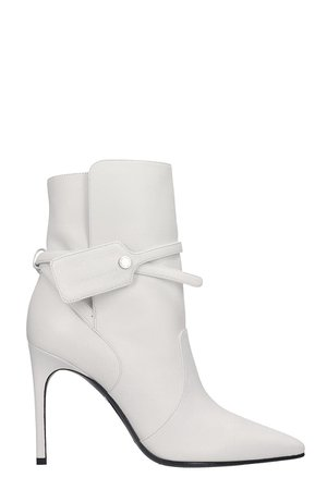 Off-White High Heels Ankle Boots In White Leather