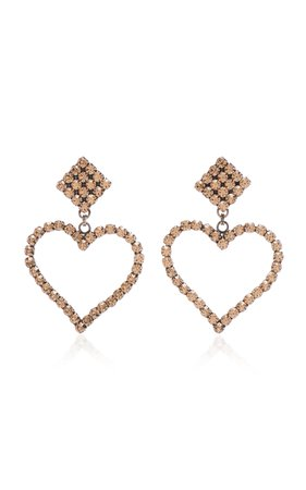 Alessandra Rich Dark Gold Crystal Heart Earring