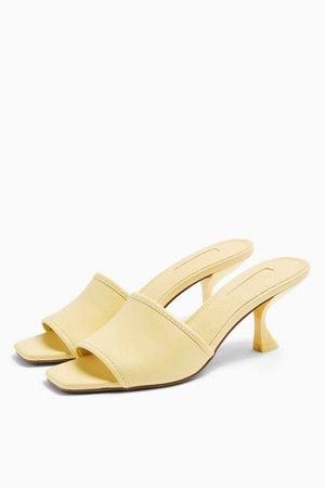 NUTMEG Yellow Flare Heel Mules | Topshop